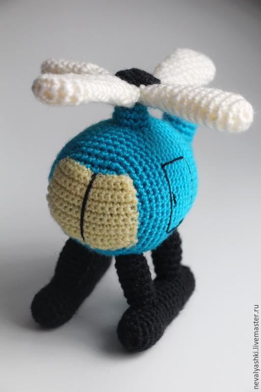 """Развивающие игрушки ручной работы. Ярмарка Мастеров - ручная работа. Купить Погремушка """"Вертолетик"""". Handmade. Голубой, вязаная игрушка, синтепух"""