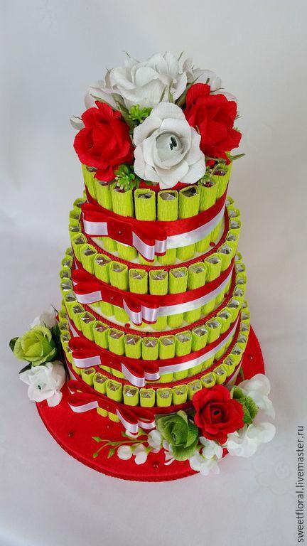 """Букеты ручной работы. Ярмарка Мастеров - ручная работа. Купить Торт из конфет """" Сюрприз """", в подарок. Handmade. Разноцветный"""