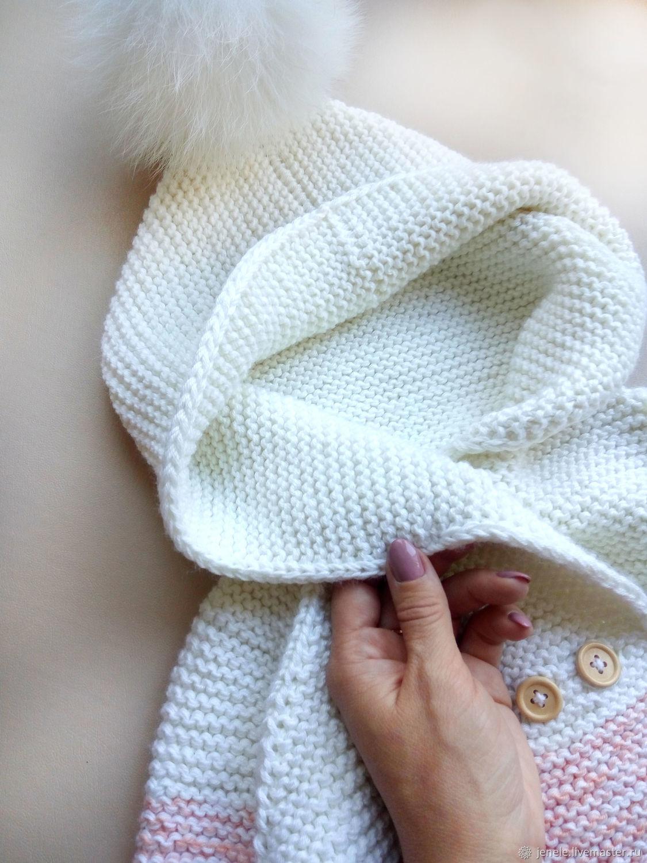 Вязаное пальто кардиган для девочки с градиентом