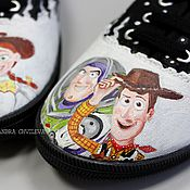 """Обувь ручной работы. Ярмарка Мастеров - ручная работа Кеды """"История игрушек"""" Шериф Вуди, Баз Лайтер и Джесси ручная роспись. Handmade."""