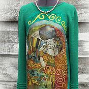 Одежда ручной работы. Ярмарка Мастеров - ручная работа Поцелуй Климт Платье  Изумрудное. Handmade.