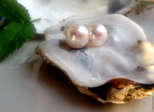 Серьги ручной работы. Ярмарка Мастеров - ручная работа. Купить ОДРИ жемчуг  серьги - пусеты(серебро Thailand). Handmade. Белый