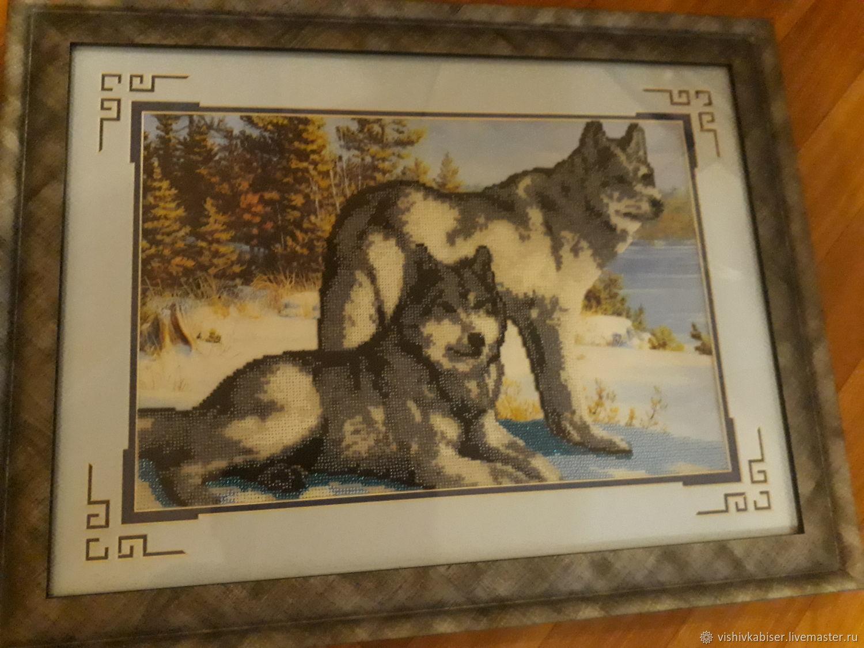 Волки вышитые бисером фото