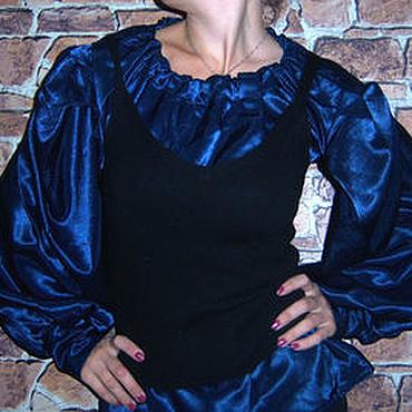 Одежда ручной работы. Ярмарка Мастеров - ручная работа Блузка темно-синяя. Handmade.