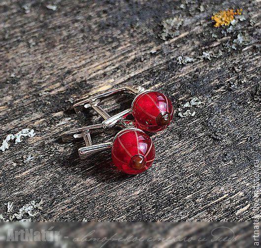 """Серьги ручной работы. Ярмарка Мастеров - ручная работа. Купить Серьги - мини lampwork """"Красная смородина"""", серебро 925, англ. замок. Handmade."""