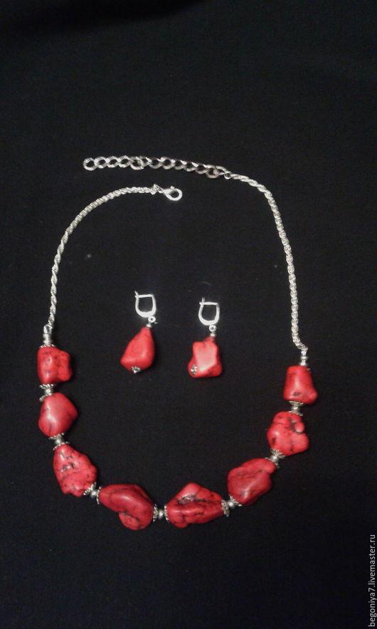 Комплекты украшений ручной работы. Ярмарка Мастеров - ручная работа. Купить Красные кораллы. Handmade. Ярко-красный, ручная сборка