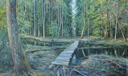 Пейзаж ручной работы. Ярмарка Мастеров - ручная работа. Купить Старый лес. Handmade. Хаки, сосновый бор, Осенний лес