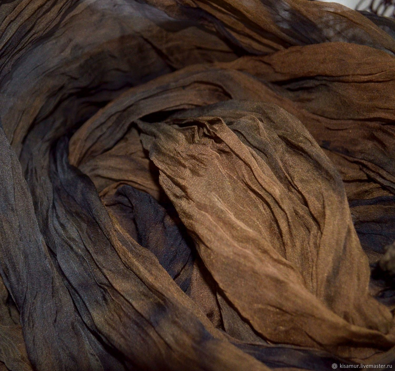 Silk scarf stole long chiffon shades of brown, Scarves, Vyazma,  Фото №1