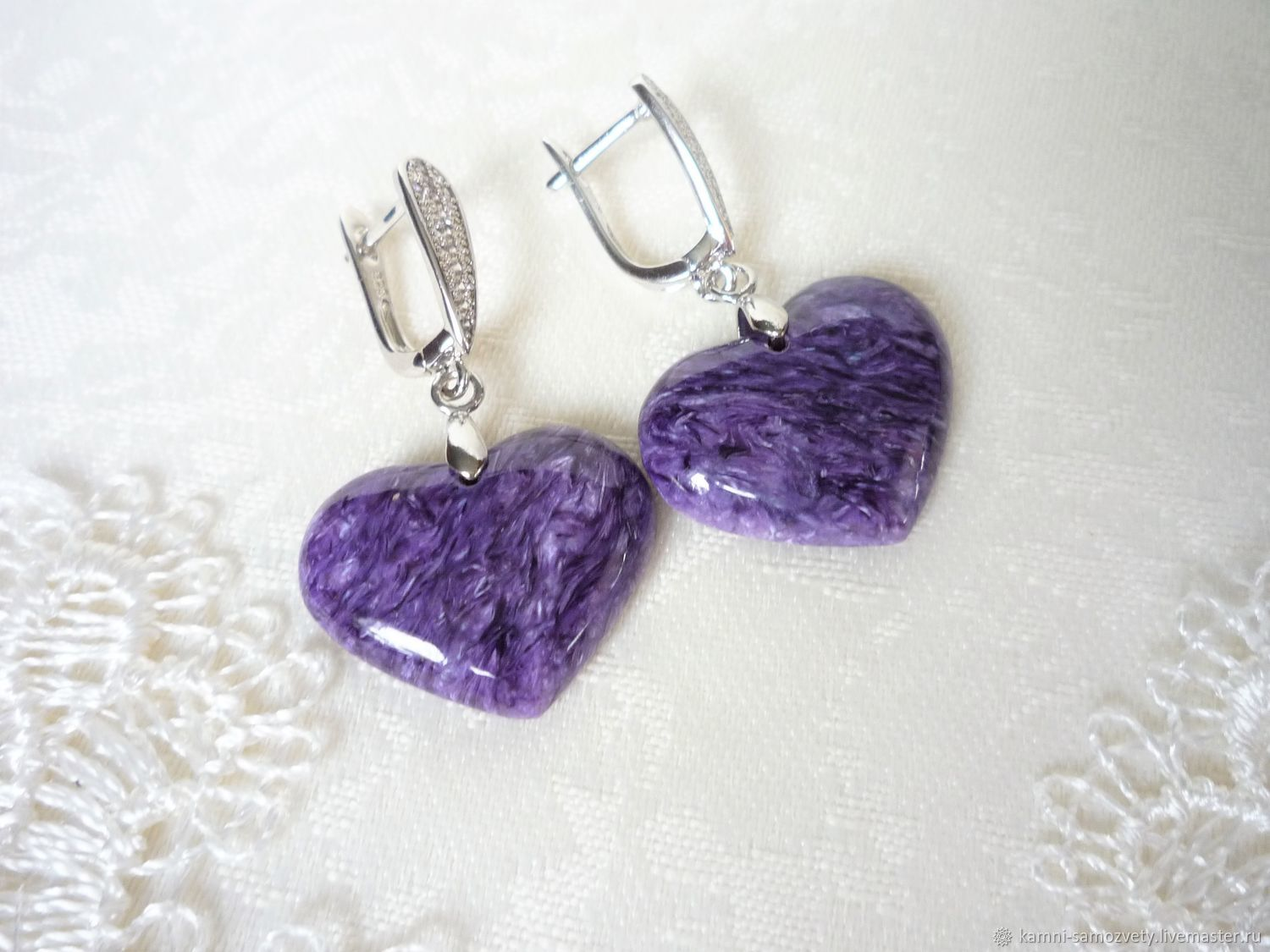 Earrings charoite, Earrings, Irkutsk,  Фото №1