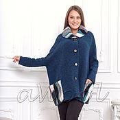 Одежда ручной работы. Ярмарка Мастеров - ручная работа Куртка-пончо сине-бирюзовая C6D. Handmade.