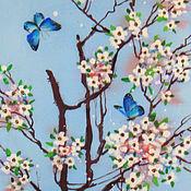 Картины и панно ручной работы. Ярмарка Мастеров - ручная работа Синие бабочки ( батик панно). Handmade.