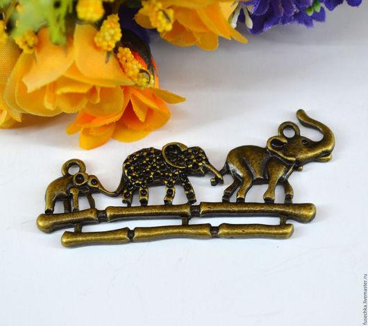 Для украшений ручной работы. Ярмарка Мастеров - ручная работа. Купить Коннектор под бронзу Слоны. Handmade. Комбинированный