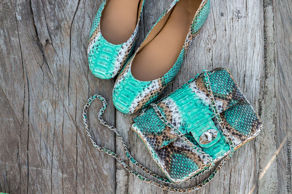 Ballet shoes made of genuine Python leather. Leather ballet shoes, Ballet flats, Chelyabinsk,  Фото №1