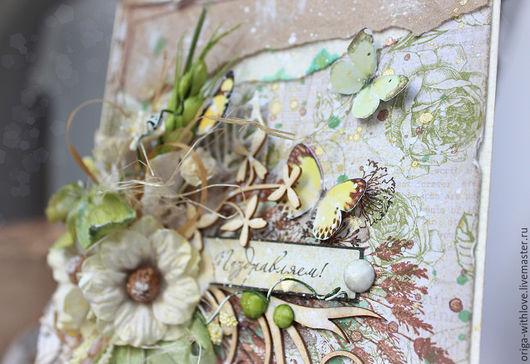 Открытки на день рождения ручной работы. Ярмарка Мастеров - ручная работа. Купить Поздравительная открытка Крафт и бабочки. Handmade. поздравление