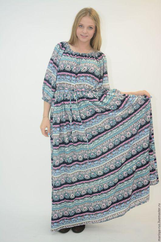 """Платья ручной работы. Ярмарка Мастеров - ручная работа. Купить Платье """"Крестьянка"""". Handmade. Голубой, длинное платье"""