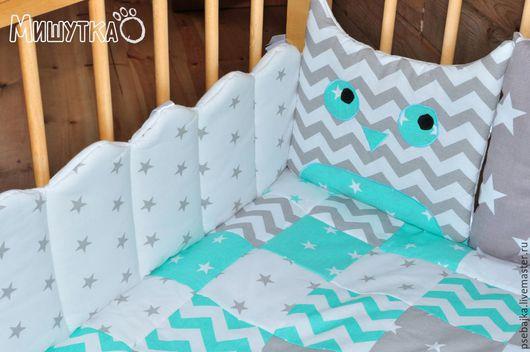 Детская ручной работы. Ярмарка Мастеров - ручная работа. Купить Бортики в кроватку. Handmade. Комбинированный, бортики подушки, бортики совы