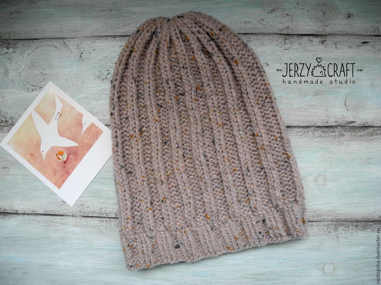 Шапка вязаная спицами шапка бини шапка бохо шапка теплая шапка вязанная шапка зимняя шапка  шапочка теплая шапочка вязаная спицами шапочка вязанная шапочка шерсть шапка шерстяная шапка вязаная твид
