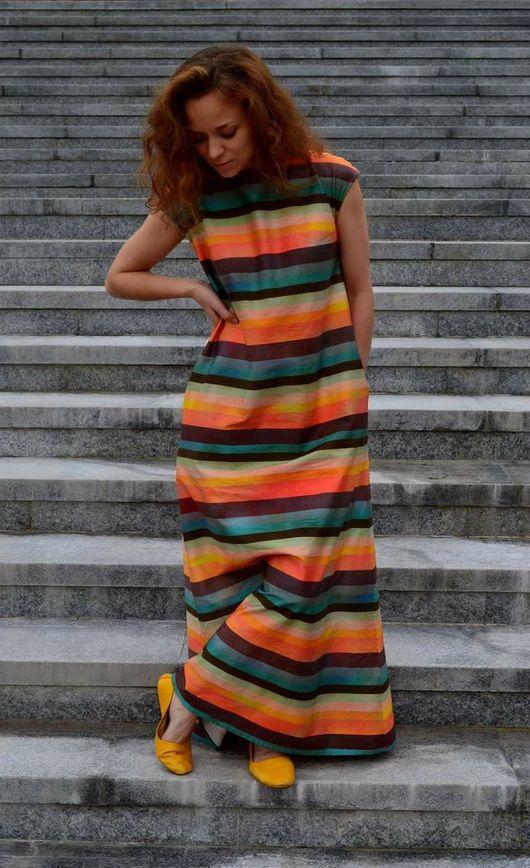Платья ручной работы. Ярмарка Мастеров - ручная работа. Купить Платье макси из хлопка ПОЛОСКА. Handmade. Платье, полосатое платье