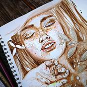 Картины и панно handmade. Livemaster - original item Painting with a girl-Terra. Handmade.