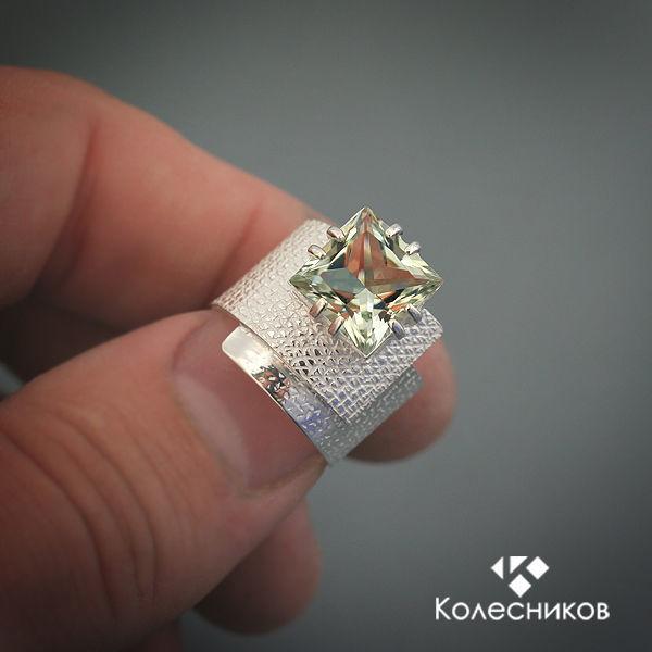 Кольцо серебряное Бумажный квадратик (серебро, празиолит), Кольца, Ярославль,  Фото №1