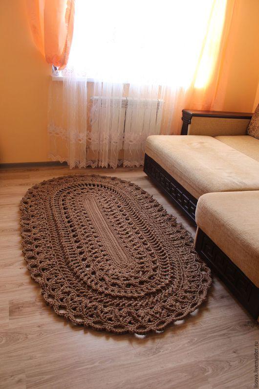 """Текстиль, ковры ручной работы. Ярмарка Мастеров - ручная работа. Купить Вязаный ковер """"Кофе"""". Handmade. Комбинированный, ковер из шнура"""
