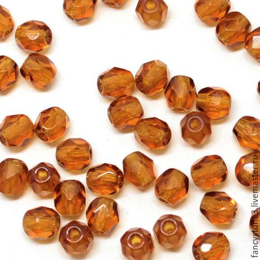 Для украшений ручной работы. Ярмарка Мастеров - ручная работа. Купить 50шт 4мм Чешские граненые бусины темный топаз Fire polished beads. Handmade.