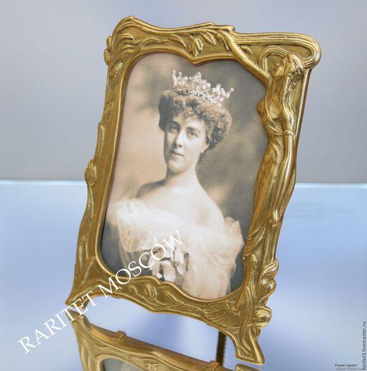 Винтажные предметы интерьера. Ярмарка Мастеров - ручная работа. Купить Фоторамка рамка зеркало девушка бронза латунь 33. Handmade.