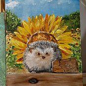 Картины и панно handmade. Livemaster - original item Oil painting / hardboard Hedgehog. Handmade.