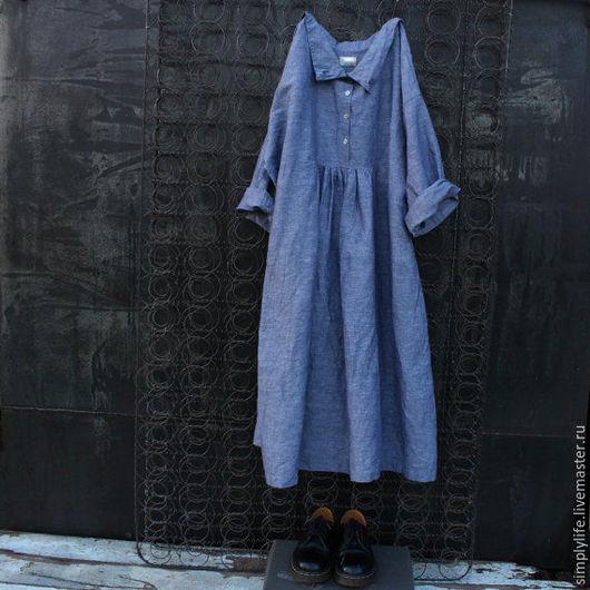 Платья ручной работы. Ярмарка Мастеров - ручная работа. Купить Небо. Handmade. Голубой, бохо стиль, свободное платье, 6x