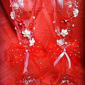 Свадебный салон ручной работы. Ярмарка Мастеров - ручная работа Свадебные фужеры в краснобелом цвете. Handmade.