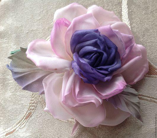 """Броши ручной работы. Ярмарка Мастеров - ручная работа. Купить Брошь-цветок Роза """"Сиреневый туман"""". Handmade. Разноцветный"""
