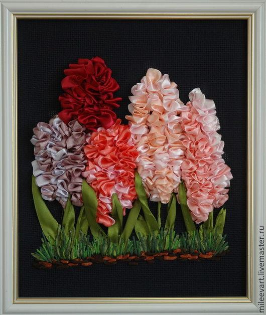 Картины цветов ручной работы. Ярмарка Мастеров - ручная работа. Купить Гиацинты. Вышивка лентами (авторская работа). Handmade.