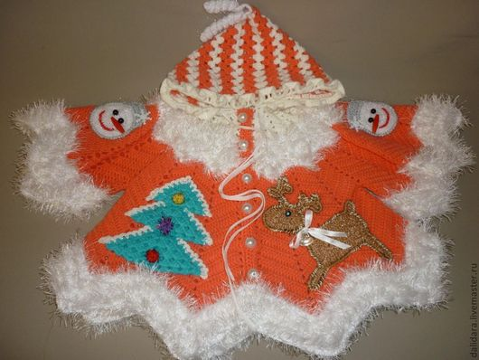 Одежда для девочек, ручной работы. Ярмарка Мастеров - ручная работа. Купить Кофточка детская вязаная «Рождественская сказка», для девочки. Handmade.