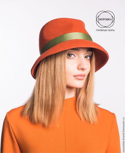 Шляпы ручной работы. Ярмарка Мастеров - ручная работа. Купить Терракотовая шляпа из фетра. Handmade. Рыжий, шляпа с полями, канотье