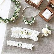Свадебный салон ручной работы. Ярмарка Мастеров - ручная работа Подвязка невесты, кружевная подвязка, рустик, эко, ботаник, свадебное. Handmade.