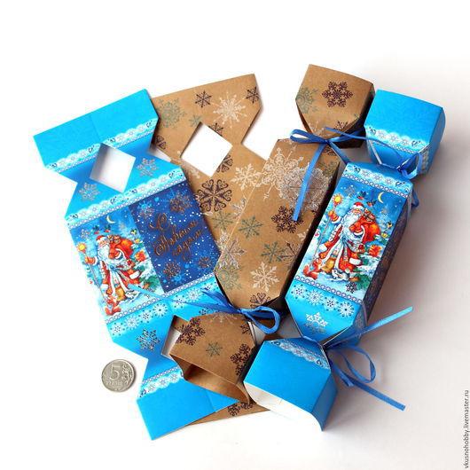 """Упаковка ручной работы. Ярмарка Мастеров - ручная работа. Купить Коробка-конфета 2 вида. """"С новым годом! Снежинки"""" Крафт 23х5см. Handmade."""