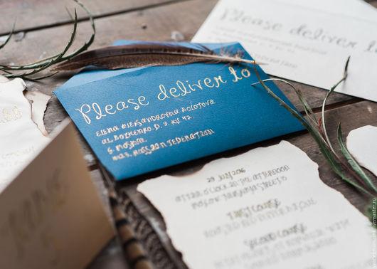 Свадебные аксессуары ручной работы. Ярмарка Мастеров - ручная работа. Купить Приглашение в стиле Бохо. Handmade. Бежевый, пригласительные