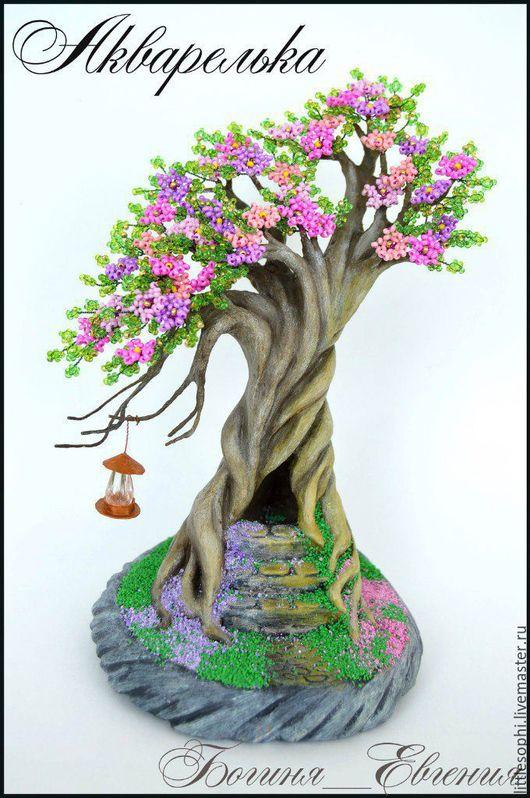 Миниатюрные модели ручной работы. Ярмарка Мастеров - ручная работа. Купить Акварелька. Handmade. Комбинированный, бисер, дерево, Дерево из бисера