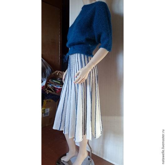 Кофты и свитера ручной работы. Ярмарка Мастеров - ручная работа. Купить пуловер и юбка матроска. Handmade. Синий, костюм