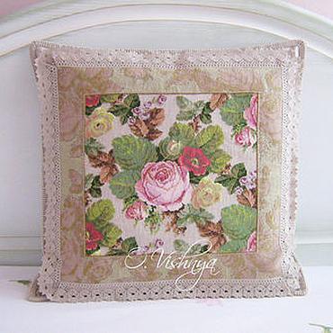 Для дома и интерьера ручной работы. Ярмарка Мастеров - ручная работа Вышитая подушка в английском стиле. Handmade.