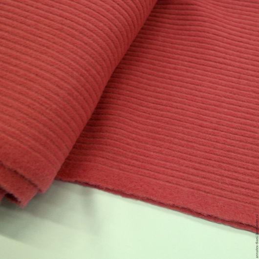 Ткань пальтовая `Вельвет` - цвет коралловый