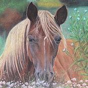 Картины и панно ручной работы. Ярмарка Мастеров - ручная работа Лошадь на лугу. Handmade.