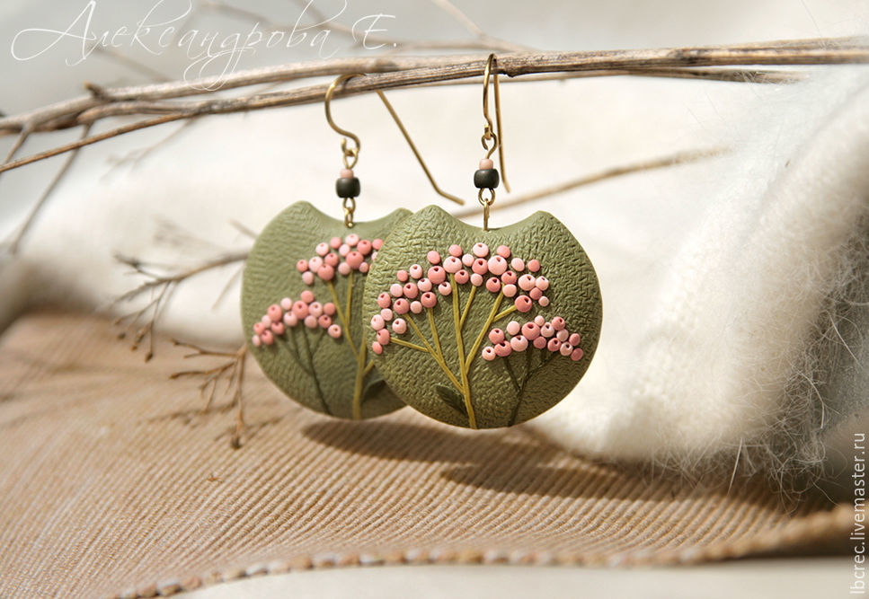 Round green earrings with pink berries made of polymer clay, Earrings, Barnaul,  Фото №1