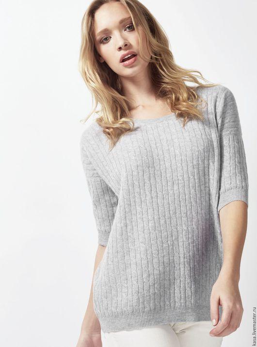 """Кофты и свитера ручной работы. Ярмарка Мастеров - ручная работа. Купить Легкий тонкий пуловер с узором """"косичка"""" из кашемира. Handmade."""