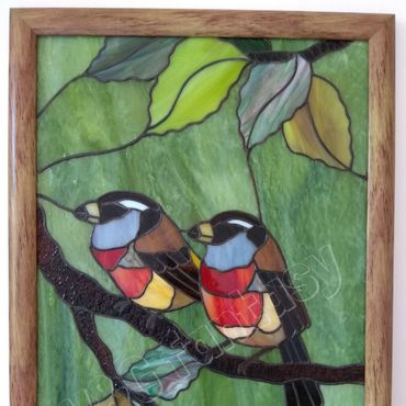 """Картины и панно ручной работы. Ярмарка Мастеров - ручная работа Витражное панно """"Южные пташки"""". Handmade."""