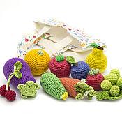 Куклы и игрушки ручной работы. Ярмарка Мастеров - ручная работа Вязаные мини овощи и фрукты в сумочке (10 шт). Handmade.