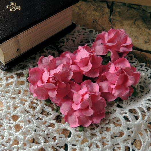 Открытки и скрапбукинг ручной работы. Ярмарка Мастеров - ручная работа. Купить Цветы розы розовые 5 шт. Handmade. Цветы
