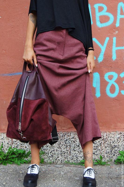 Рюкзак из натуральной кожи в цвете бургунди. Рюкзак из замши на молнии. Кожаная сумка. аксессуары из кожи.