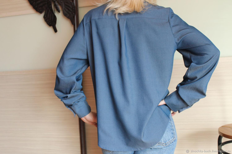 483d555d56a Оксана Медведская · Блузки ручной работы. Джинсовая женская рубашка синего  цвета с лампасами на рукавах.