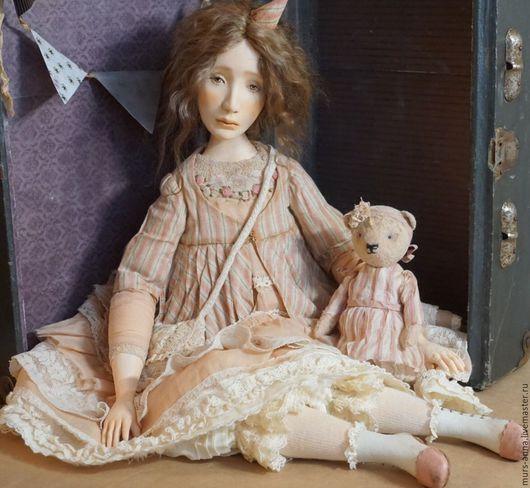 Коллекционные куклы ручной работы. Ярмарка Мастеров - ручная работа. Купить Пьеретта.. Handmade. Бежевый, волосы натуральные, кожа натуральная
